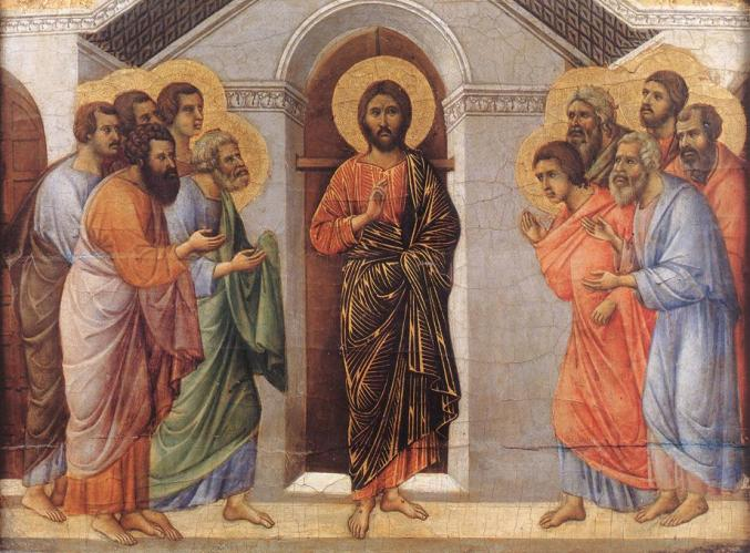 Pictured here. The disciples' expressions suggest Jesus may not be pulling off the stripes as well as he thought.