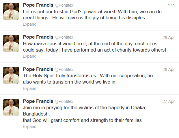 For the lazier among us, his Eminence is thoughtful enough to condense his messages to 140 characters.